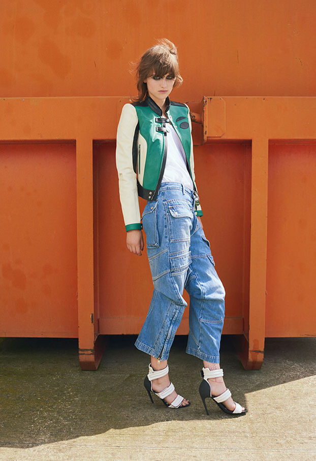 L-ALLIE, Blanc/Vert - Vestes de cuir