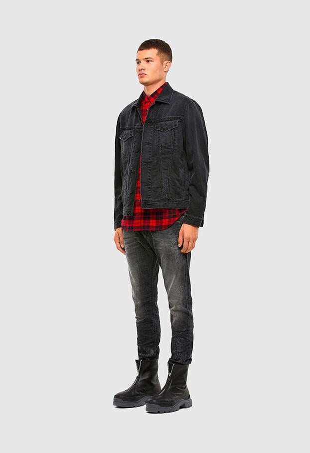 S-EAST-LONG-TUB, Noir/Rouge - Chemises