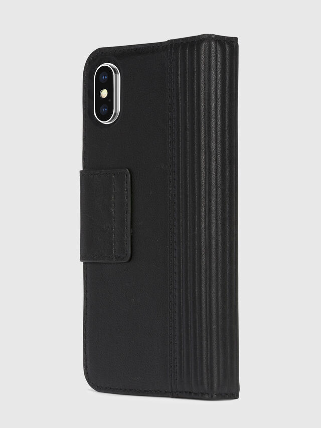Diesel - BLACK LINED LEATHER IPHONE X FOLIO, Noir - Coques à rabat - Image 4