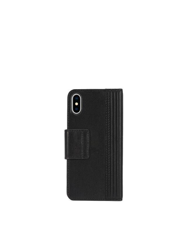Diesel - BLACK LINED LEATHER IPHONE X FOLIO, Noir - Coques à rabat - Image 4