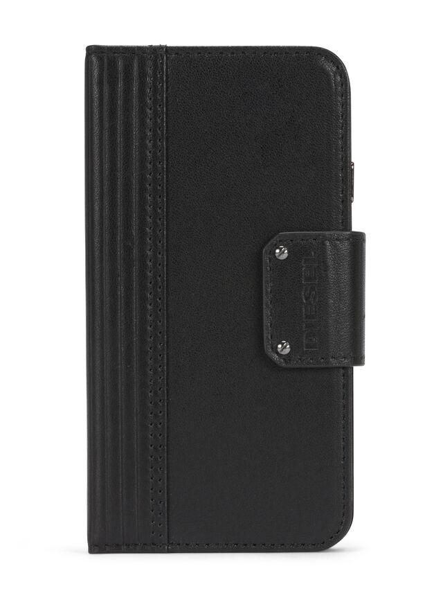 Diesel - BLACK LINED LEATHER IPHONE 8 PLUS/7 PLUS FOLIO, Noir - Coques à rabat - Image 1