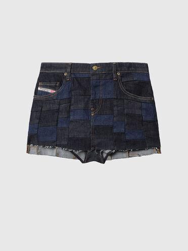 Mini-jupe en denim façon patchwork