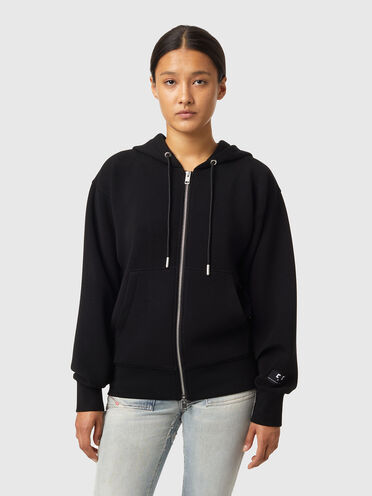Sweat-shirt à capuche zippé en scuba stretch