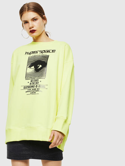 Diesel - F-AKUA, Jaune Fluo - Pull Cotton - Image 1