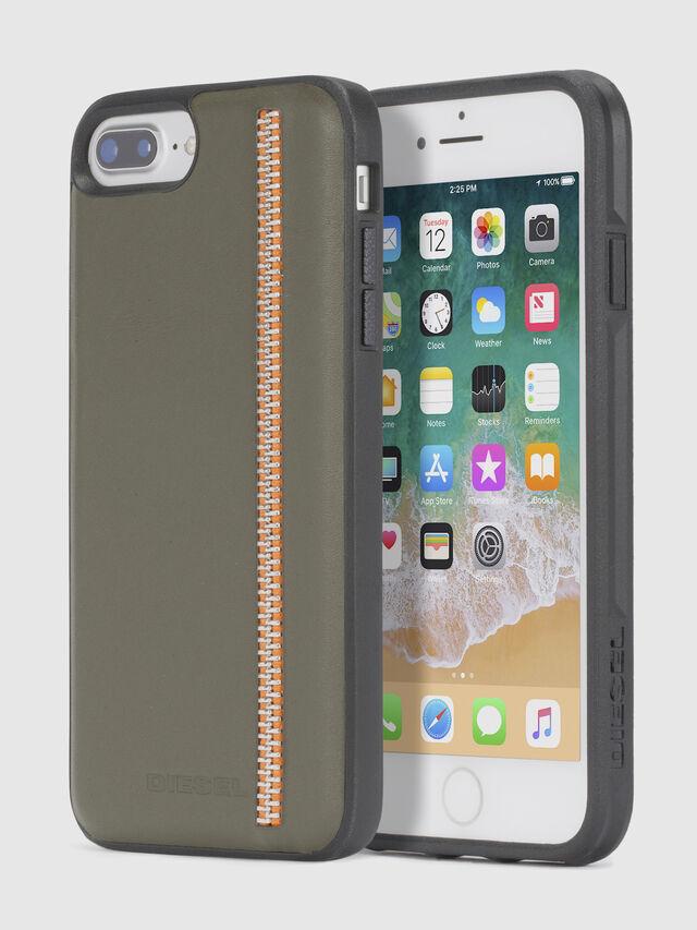 Diesel - ZIP OLIVE LEATHER IPHONE 8 PLUS/7 PLUS/6s PLUS/6 PLUS CASE, Vert Olive - Coques - Image 1
