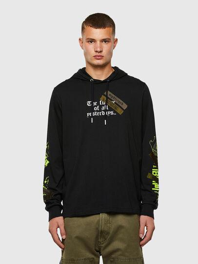 Diesel - T-JUST-LS-HOOD-TAPES, Noir - T-Shirts - Image 1