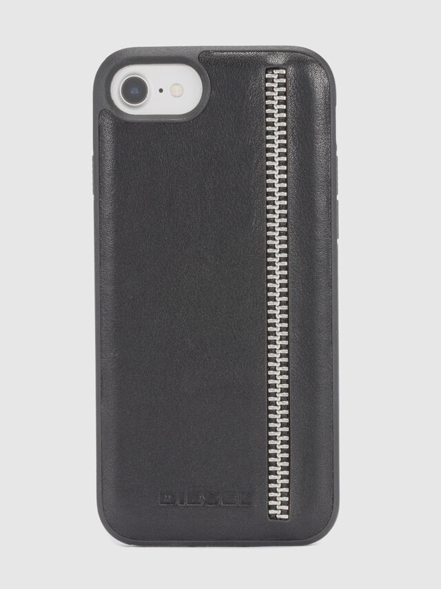 Diesel - ZIP BLACK LEATHER IPHONE 8 PLUS/7 PLUS/6s PLUS/6 PLUS CASE, Noir - Coques - Image 2