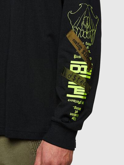 Diesel - T-JUST-LS-HOOD-TAPES, Noir - T-Shirts - Image 4