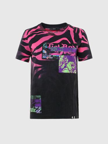 T-shirt avec imprimé animalier et empiècements