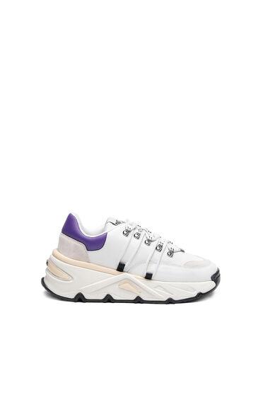 Sneakers épaisses en cuir et daim