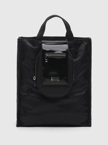 Petit sac cabas en nylon et en cuir brillant