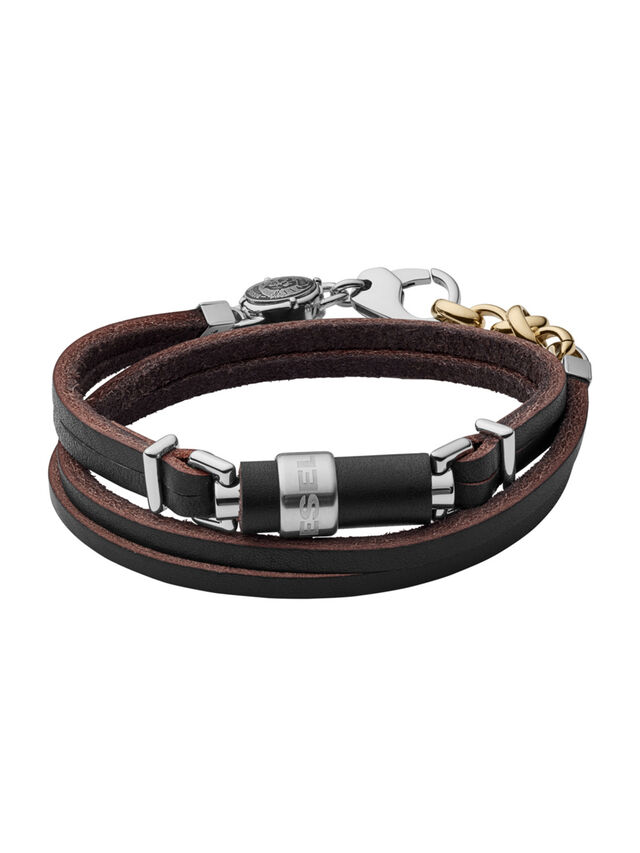 Diesel BRACELET DX1082, Cuir Noir - Bracelets - Image 1