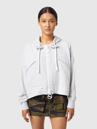Sweat-shirt à capuche cropped zippé