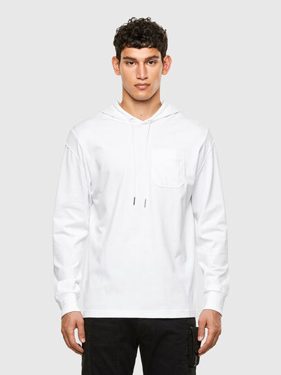 Diesel - T-FONTAL-LS-HOOD, Blanc - T-Shirts - Image 1