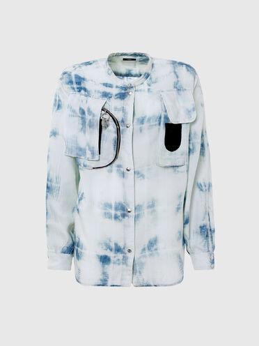 Chemise à carreaux avec effet blanchi