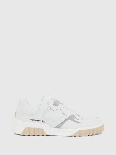 Sneakers basses en cuir et en daim