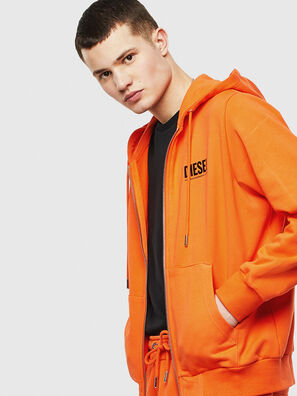 S-GIRK-HOOD-ZIP-LOGO, Orange - Pull Cotton