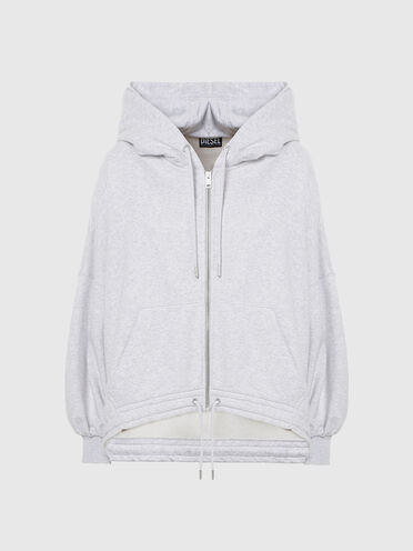 Sweat-shirt à capuche zippé style poncho