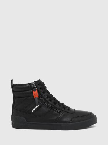 Sneakers montantes à panneaux en cuir suédé