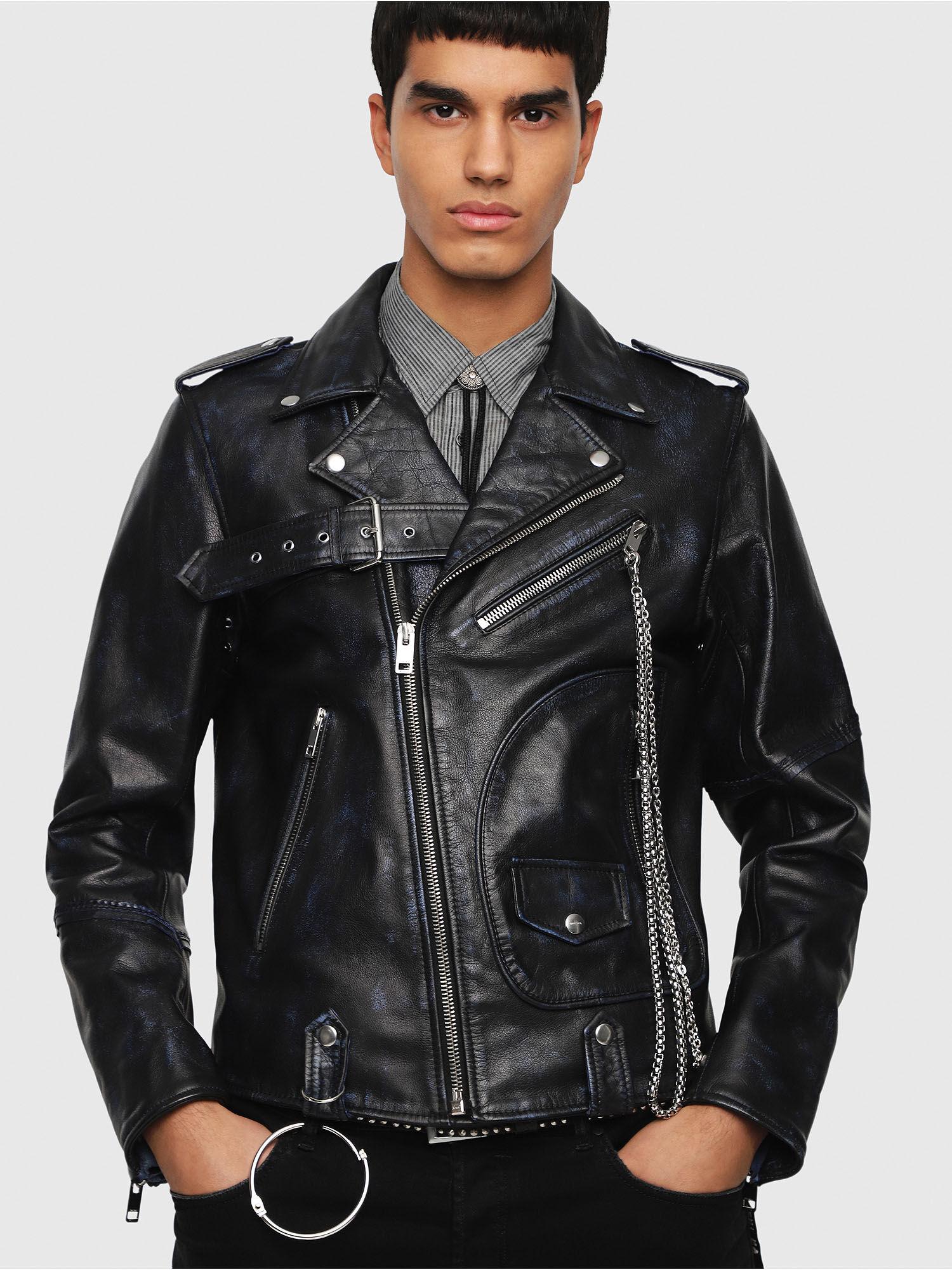 Blouson cuir noir homme diesel