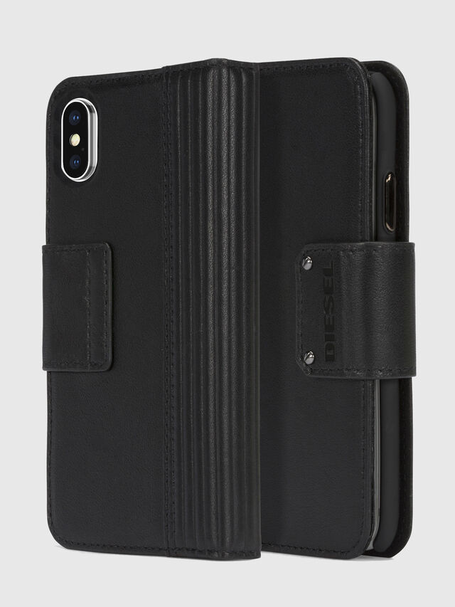 Diesel - BLACK LINED LEATHER IPHONE X FOLIO, Noir - Coques à rabat - Image 1