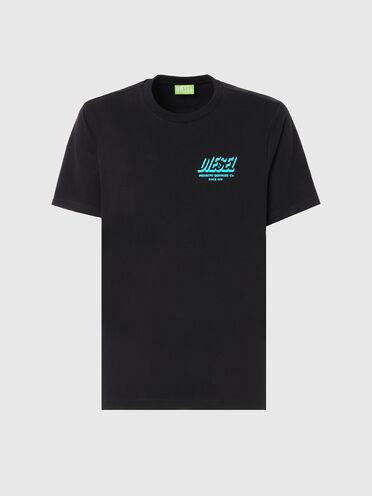 T-shirt label vert avec logo imprimé