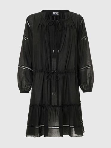 Robe midi en coton avec bordures apparentes