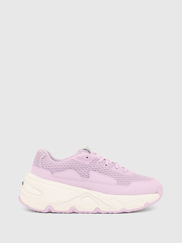 Sneakers à semelle épaisse en organza et mesh