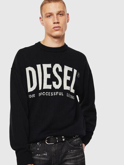 Diesel - K-LOGOS, Noir - Pull Maille - Image 1