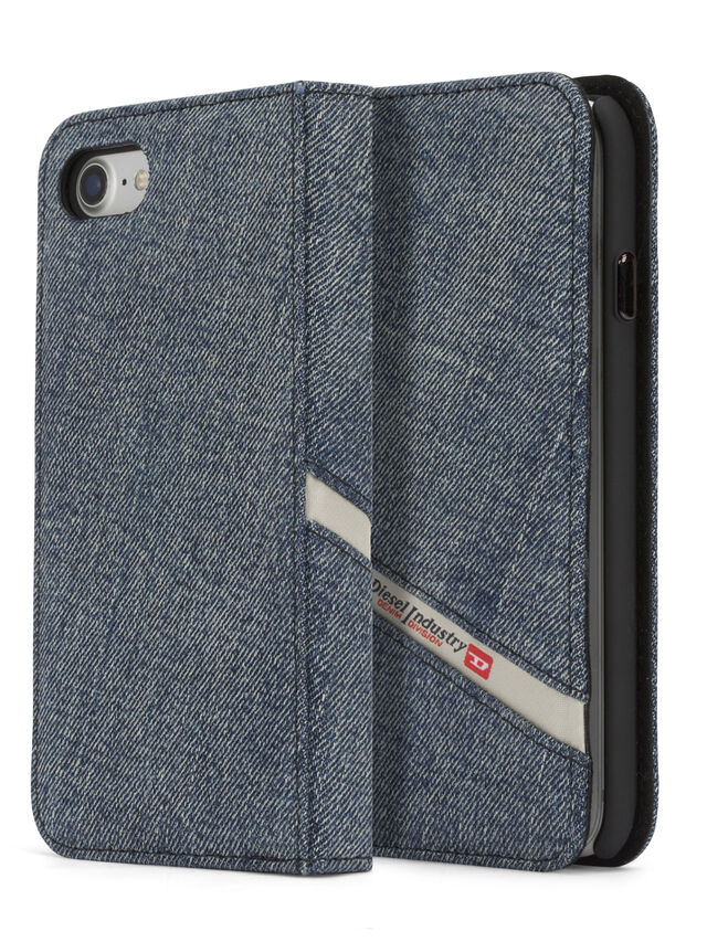 Diesel - DENIM IPHONE 8 PLUS/7 PLUS FOLIO, Jean Bleu - Coques à rabat - Image 3