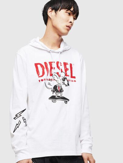 Diesel - CL-T-JUST-LS-HOOD, Blanc - T-Shirts - Image 1