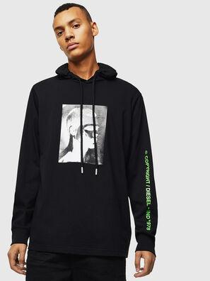 T-JUST-LS-HOOD-J5, Noir - T-Shirts