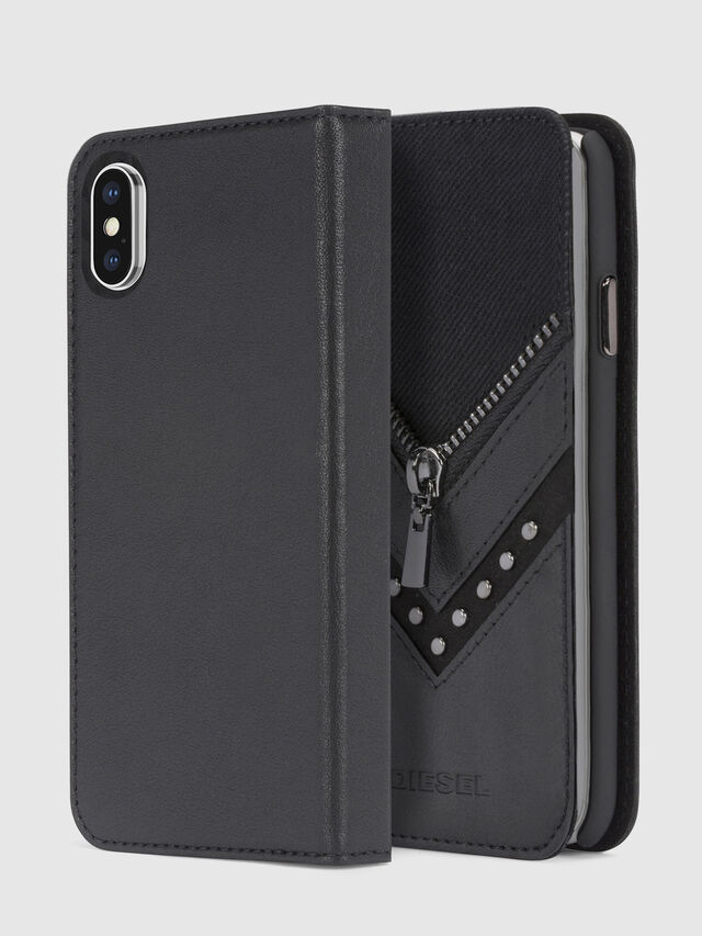 Diesel - BLACK DENIM/STUD/ZIPPER IPHONE X FOLIO, Noir - Coques à rabat - Image 1