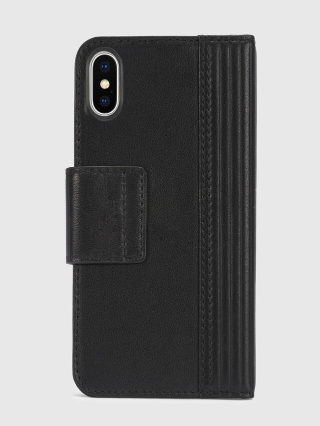 Diesel - BLACK LINED LEATHER IPHONE X FOLIO, Noir - Coques à rabat - Image 5
