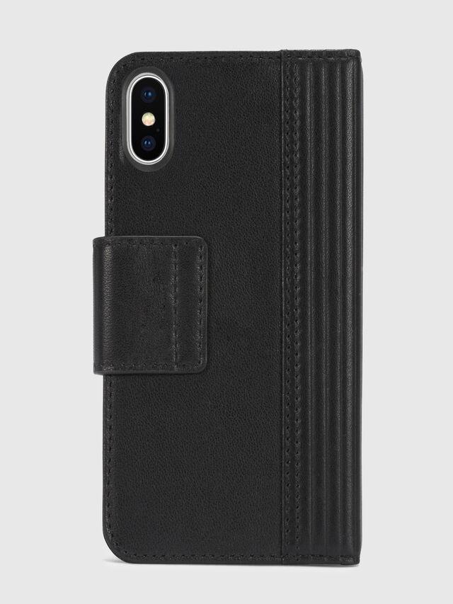 Diesel - BLACK LINED LEATHER IPHONE X FOLIO, Noir - Coques à rabat - Image 5