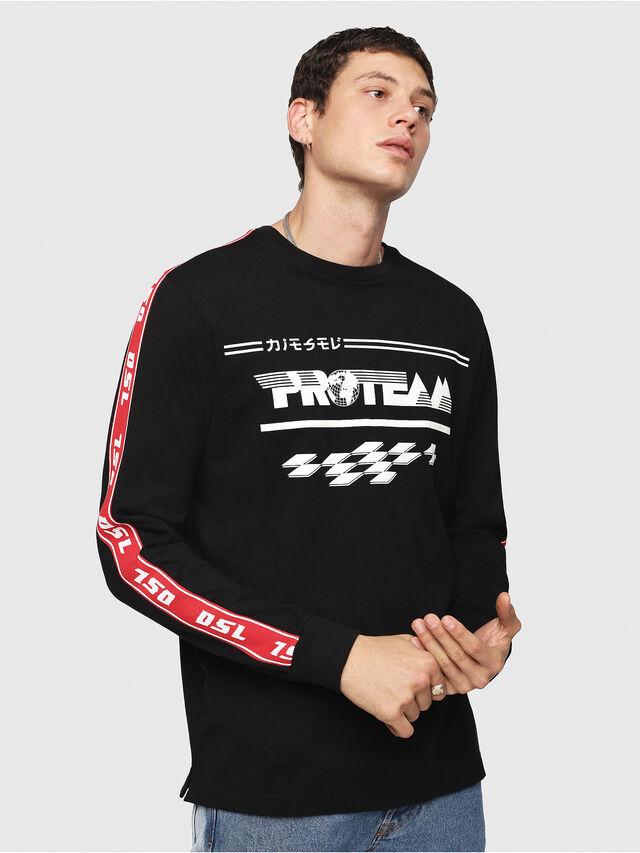 Diesel - T-JUST-LS-RACE, Noir/Blanc - T-Shirts - Image 1