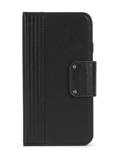 Diesel - BLACK LINED LEATHER IPHONE 8 PLUS/7 PLUS FOLIO, Noir - Coques à rabat - Image 1