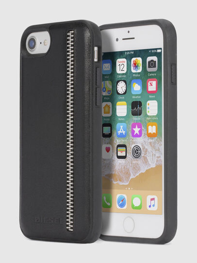 Diesel - ZIP BLACK LEATHER IPHONE 8 PLUS/7 PLUS/6s PLUS/6 PLUS CASE, Noir - Coques - Image 1