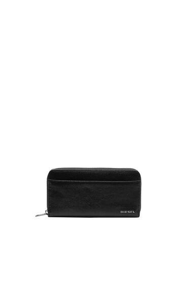 Portefeuille zippé avec détail en denim
