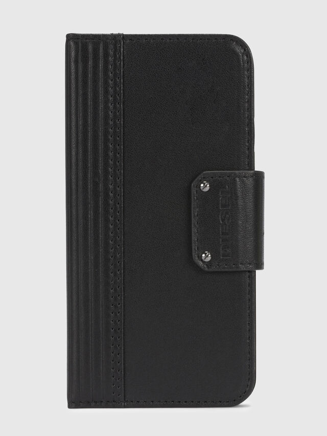 Diesel - BLACK LINED LEATHER IPHONE X FOLIO, Noir - Coques à rabat - Image 2
