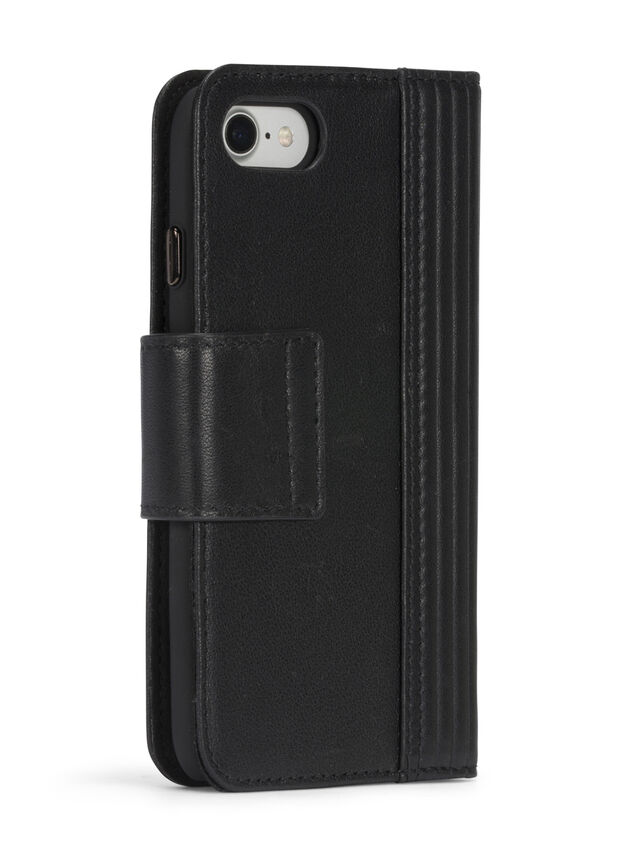 BLACK LINED LEATHER IPHONE 8 PLUS/7 PLUS FOLIO, Noir