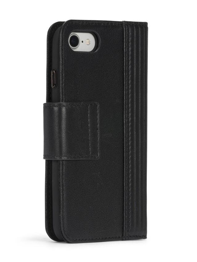 Diesel - BLACK LINED LEATHER IPHONE 8 PLUS/7 PLUS FOLIO, Noir - Coques à rabat - Image 7
