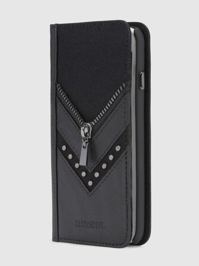 Diesel - BLACK DENIM/STUD/ZIPPER IPHONE 8/7 FOLIO, Noir - Coques à rabat - Image 1