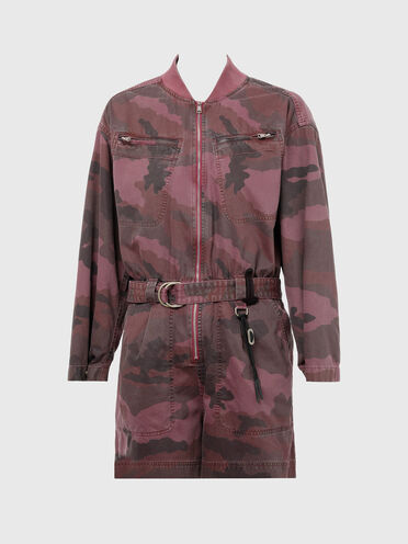 Combishort teint en plongée en sergé camouflage
