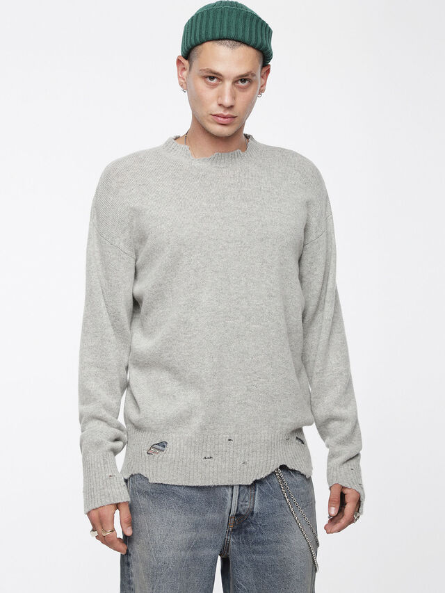 Diesel - K-MUST, Gris Clair - Pull Maille - Image 1