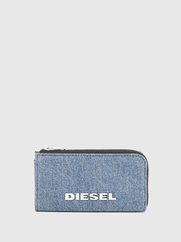 Pochette porte-clés en denim bicolore