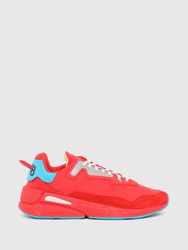 Sneakers en nylon froncé et en daim