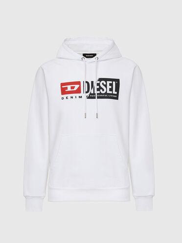Sweat-shirt à capuche en coton avec logo divisé