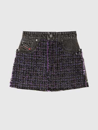 Mini-jupe en dénim et laine bouclée