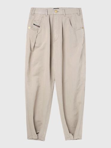 Pantalon ample en sergé de coton et lin